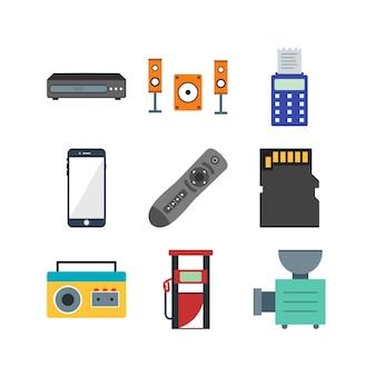 Zestaw ikon urządzeń elektronicznych do użytku osobistego i komercyjnego