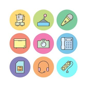 Zestaw ikon urządzeń elektronicznych na białym tle