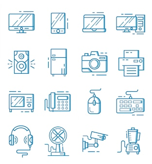 Zestaw ikon urządzeń elektronicznych w stylu konspektu