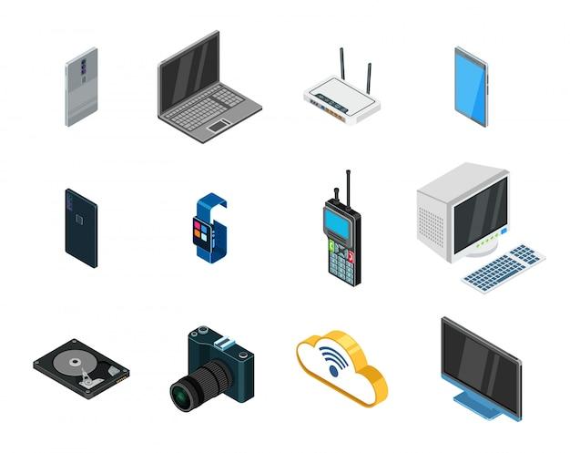 Zestaw ikon urządzeń izometryczny wektor.