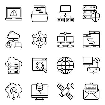 Zestaw ikon urządzeń komunikacyjnych