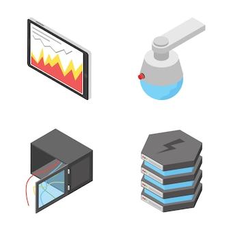 Zestaw ikon urządzeń sieciowych i podłączeniowych