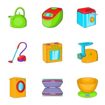 Zestaw ikon urządzeń, stylu cartoon