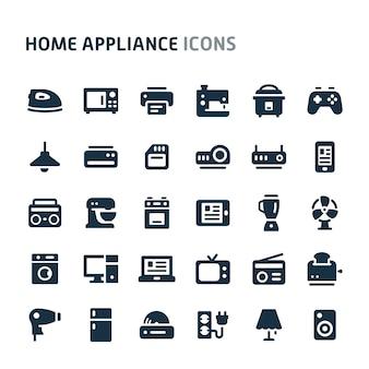 Zestaw ikon urządzenia gospodarstwa domowego. seria fillio black icon.