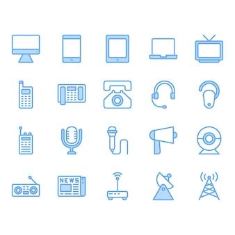 Zestaw ikon urządzenia komunikacyjnego. ilustracja wektorowa