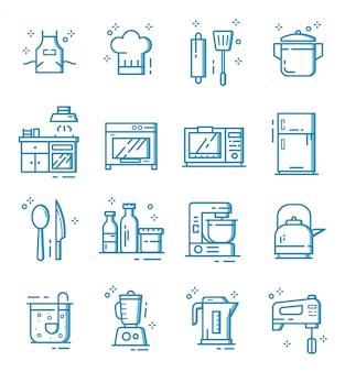 Zestaw ikon urządzenia kuchenne w stylu konspektu