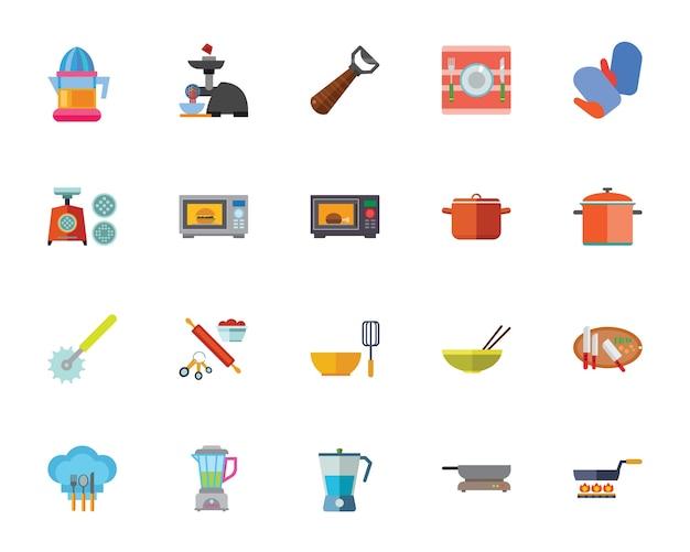 Zestaw ikon urządzenia kuchenne