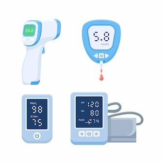 Zestaw ikon urządzenia medycznego. tonometr, glukometr do pomiaru glukozy we krwi, pulsoksymetr, termometr.