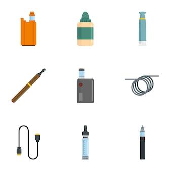 Zestaw ikon urządzenia oparów. płaski zestaw 9 ikon urządzenia parowego