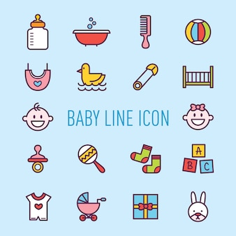 Zestaw ikon urządzenia słodkie dziecko