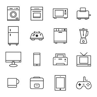 Zestaw ikon urządzenia, styl ikony konspektu