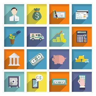 Zestaw ikon usług bankowych płaski