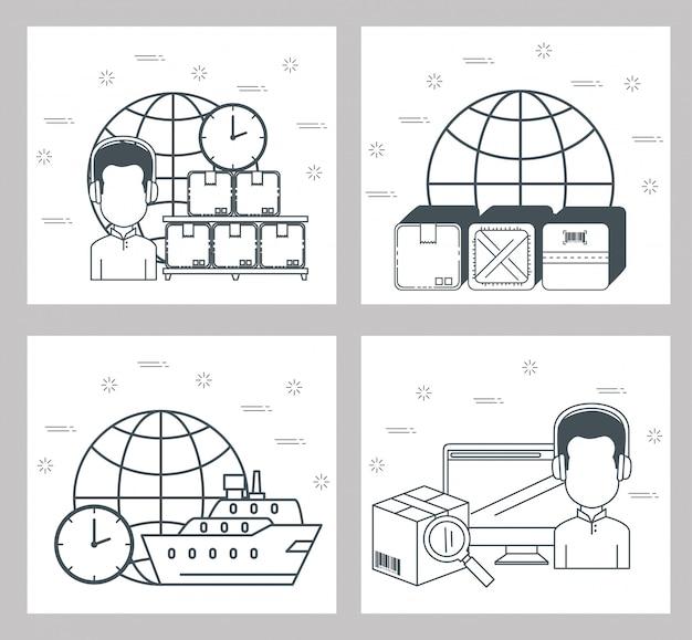 Zestaw ikon usług logistycznych