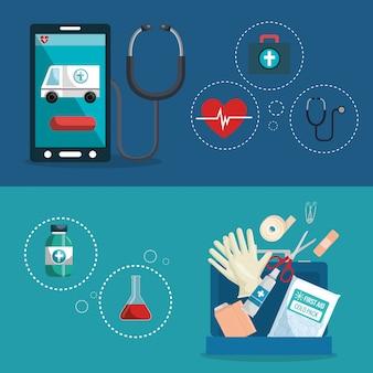 Zestaw ikon usług medycznych