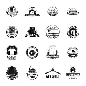 Zestaw ikon usług pralni logo