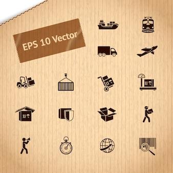 Zestaw ikon usług transportu logistycznego