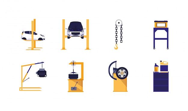 Zestaw ikon usługi naprawy samochodu na białym tle