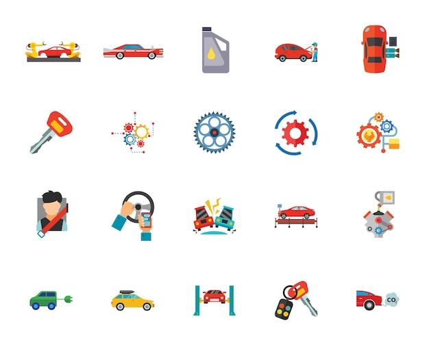 Zestaw ikon usługi samochodu