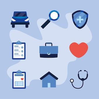 Zestaw ikon usługi ubezpieczenia medycznego