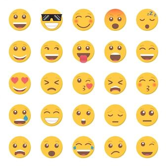 Zestaw ikon uśmiech emotikon w płaskiej konstrukcji