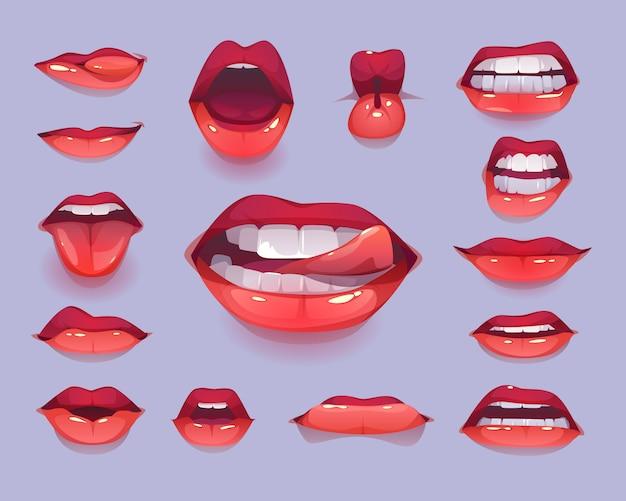 Zestaw ikon usta kobiety. czerwone seksowne usta wyrażające emocje