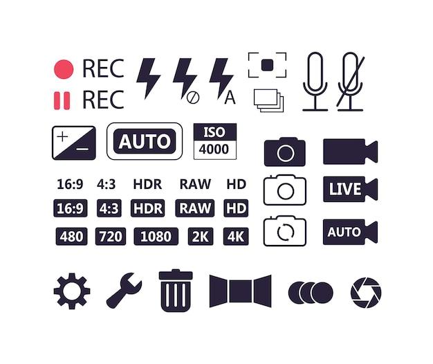 Zestaw ikon ustawień aparatu na białym tle