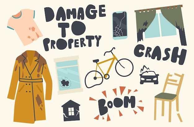 Zestaw ikon uszkodzenia tematu własności. rozbity rower transportowy, samochód, brudne podarte ubrania, wybite okno, meble i wystrój domu