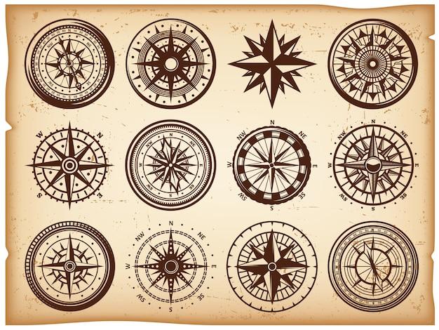 Zestaw ikon vintage kompasy morskie