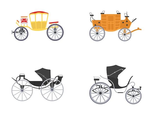 Zestaw ikon vintage transportu płaski