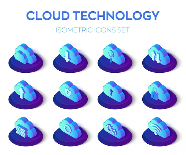 Zestaw ikon w chmurze. technologia chmurowa. zestaw ikon izometryczny 3d.