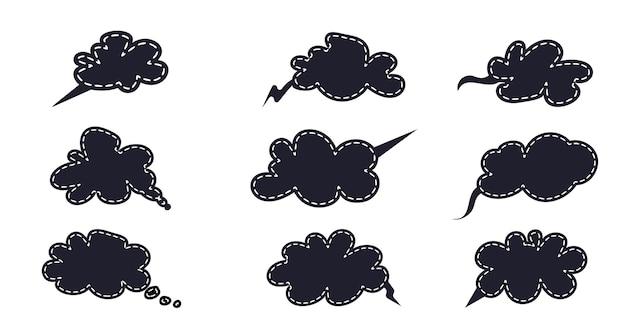 Zestaw ikon w dymku do komunikacji rozmowa dialogowa na czacie
