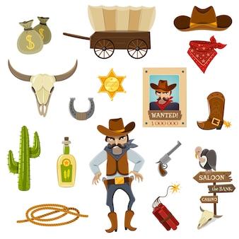 Zestaw ikon w kowbojem