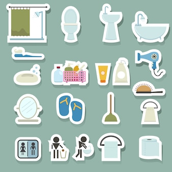 Zestaw ikon w łazience