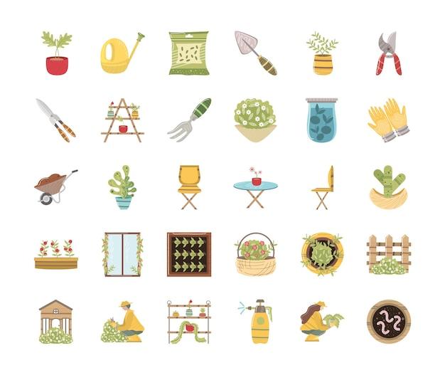 Zestaw ikon w ogrodzie domu konewka dla roślin nasiona, nożyczki, rękawiczki, ilustracja kaktusa