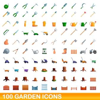 Zestaw ikon w ogrodzie, stylu cartoon