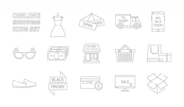 Zestaw ikon w sklepie internetowym