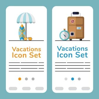 Zestaw ikon wakacje i banery