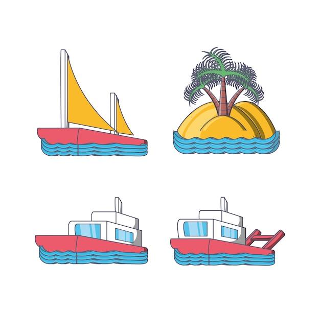 Zestaw ikon wakacje na plaży