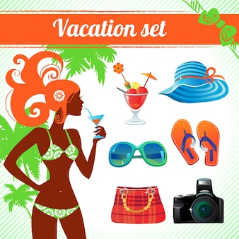 Zestaw ikon wakacji i podróży, infografiki dla współczesnych kobiet