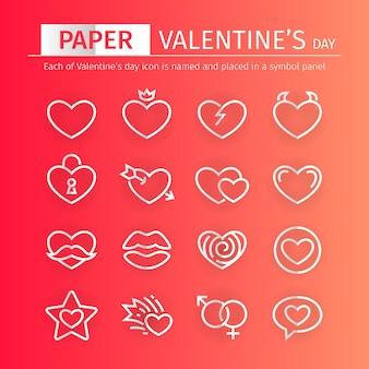 Zestaw ikon walentynki papieru