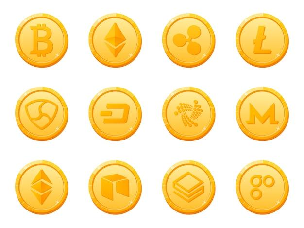 Zestaw ikon waluty kryptowaluty złote monety. najlepsza cyfrowa waluta elektroniczna.