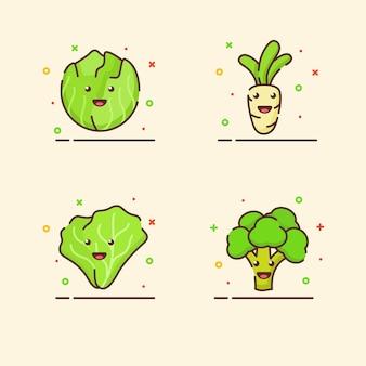 Zestaw ikon warzyw kolekcja kapusta rzodkiew sałata brokuły ładna maskotka emocja twarz zadowolona z koloru