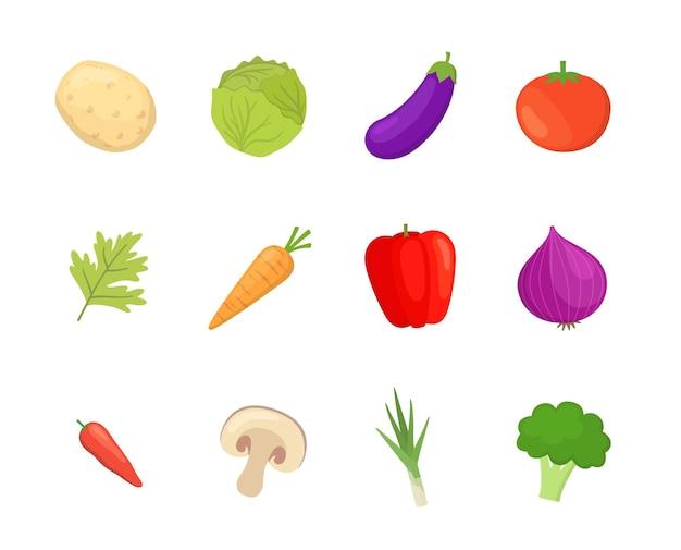 Zestaw ikon warzyw w stylu flast design