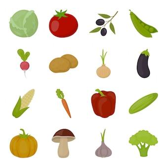 Zestaw ikon warzyw żywności