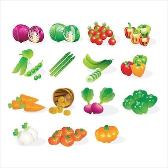 Zestaw ikon warzywa świeże warzywa