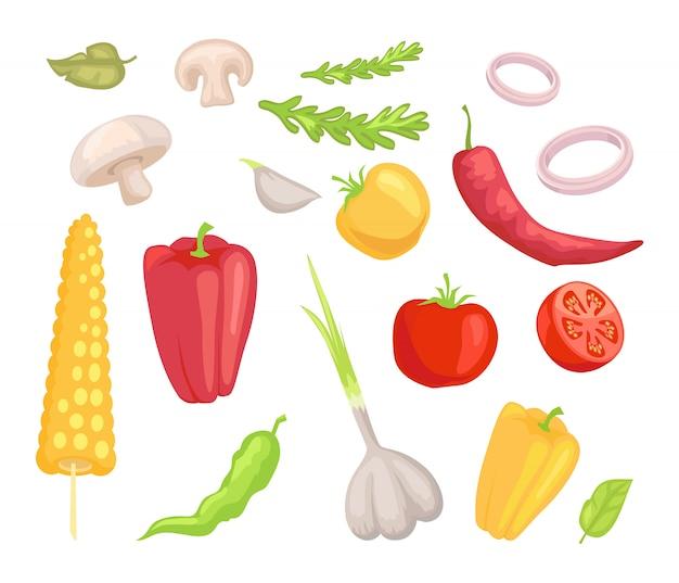Zestaw ikon warzywa warzywa