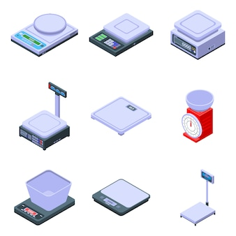 Zestaw ikon ważenia wagi, izometryczny styl