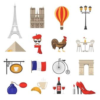 Zestaw ikon we francji