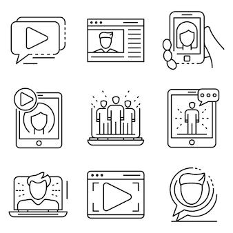 Zestaw ikon webinar. zarys zestaw ikon wektorowych seminarium