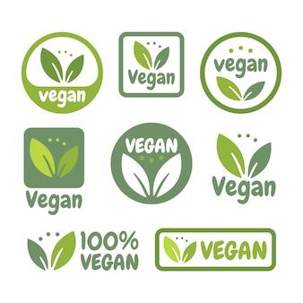 Zestaw ikon wegańskich w płaskiej konstrukcji